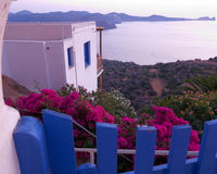 Mediterranean house in the twilight. Mediterranean house with blue fence and oleander Stock Photography