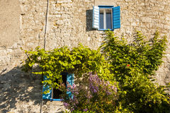 Mediterranean house, wall stone house. Mediterranean house, wall stone house and plants on the house wall Royalty Free Stock Images