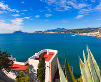 Mediterranean houses in Moraira  at Alicante. Mediterranean houses in Moraira Teulada at Alicante with Calpe Penon Ifach view Royalty Free Stock Image