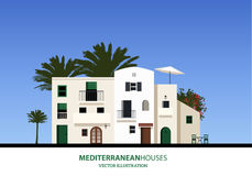 Mediterranean houses, palms and blue sky bakground. Vector illustration Stock Photos