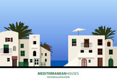 Mediterranean houses, palms and blue sky. Vector illustration Royalty Free Stock Photo