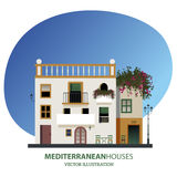 Mediterranean houses. Vector illustration. Isolated on white background Stock Photos