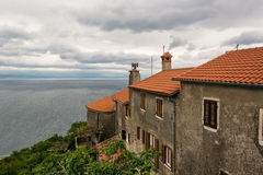 Mediterranean houses with a view of the sea Royalty Free Stock Image