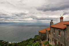 Mediterranean houses with a view of the sea Stock Photo