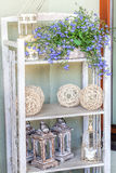Mediterranean interior - artistic shelves. Mediterranean interior - artistic vintage shelves with stylish ornaments Royalty Free Stock Photos