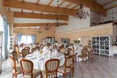 Mediterranean interior - reception tables Stock Photos