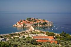 Mediterranean island. Sveti Stefan Island - resort, Montenegro Stock Photo