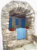 Mediterranean island house entrance Royalty Free Stock Photo