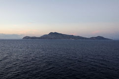 Mediterranean island view from the sea Stock Images