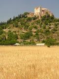 Mediterranean landscape. Farmland and a castle on a mountain Stock Photos
