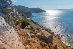 Mediterranean landscape. With the Aegean Sea and Skiathos island, Greece, 2018 royalty free stock photography