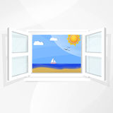 Mediterranean landscape. With boat sea and sun, seen through a window Royalty Free Stock Photos