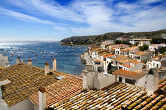 Mediterranean landscape of Costa Brava. Mediterranean sea, blue sea view from Cadaques. White houses from the mediterranean Royalty Free Stock Photos