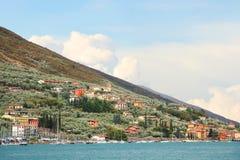 Mediterranean landscape at garda lake shore, near Brenzone Villa Royalty Free Stock Photo