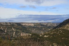Mediterranean landscape in Herault,  France. Mediterranean landscape in Herault, Occitanie in the southern of France royalty free stock photo