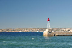 Mediterranean landscape with a lighthouse, port of Marseille, France Royalty Free Stock Photos