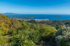 Mediterranean landscape. With the Aegean Sea and Skiathos island, Greece, 2018 royalty free stock photos