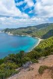 Mediterranean landscape. With the Aegean Sea and Skiathos island, Greece, 2018 royalty free stock photo