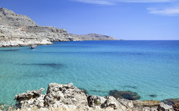 Mediterranean landscape with azure sea, Rhodes island - Greece Royalty Free Stock Photos