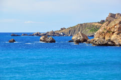 Mediterranean landscape. Rocks in the sea, Maltese Islands Stock Image