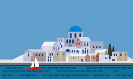 Mediterranean landscape by sea, Greek island with little town, village, resort, beach, flat design,  Royalty Free Stock Photos
