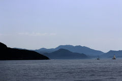 Mediterranean landscape with ships Royalty Free Stock Image
