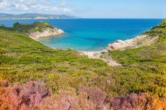 Mediterranean Landscape Skiathos. Scenic landscape overlooking the Mediterranean Sea on Skiathos island, Greece September 2018 stock photo