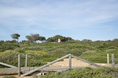Mediterranean Landscape with small bridge royalty free stock photo