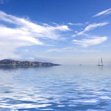 Mediterranean Landskape. Beautiful Mediterranean Landskape with a Yacht on a Horizon Stock Photo