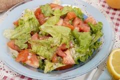 Mediterranean lettuce and tomato salad stock photo