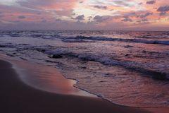 The Mediterranean in the light of the setting sun Netanya Stock Photo