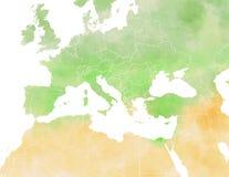 Mediterranean map, illustrated Stock Image