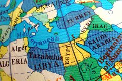 Mediterranean map on small terrestrial globe Royalty Free Stock Images