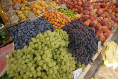 Mediterranean market place with planty of fruit Stock Images