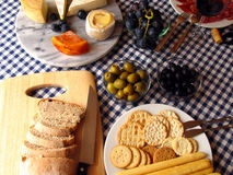 Mediterranean meal. Table set with typical mediterranean food and beverage Stock Photos
