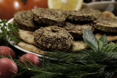 Mediterranean Meal with Falafels Stock Images