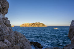 Mediterranean Medes islands in Costa Brava. Located just a mile off the coast in front of L Estartit beach, The Medes Islands archipelago is part of the Montgr Stock Image