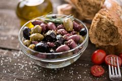 Mediterranean mix of olives for salad in oil Stock Photo