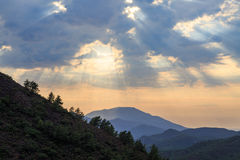 Mediterranean mountains during sunset with sun rays Stock Images