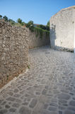 Mediterranean Narrow stone paved street Royalty Free Stock Photos