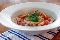 Mediterranean noodle soup with white beans Royalty Free Stock Photography