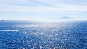Mediterranean ocean with northern tip of Africa visible on the horizon stock images