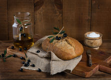 Mediterranean olive bread Stock Images
