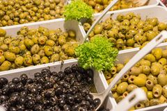 Mediterranean olives and olive paste on a street market royalty free stock photography