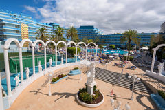 Mediterranean palace hotel in Las Americas on February 23, 2016 in Adeje, Tenerife, Spain. Stock Photos