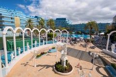 Mediterranean palace hotel in Las Americas on February 23, 2016 in Adeje, Tenerife, Spain. Stock Photos