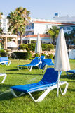 Mediterranean palm beach with empty sunbeds in morning, Paphos, Cyprus Royalty Free Stock Photo