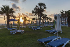 Mediterranean palm beach with empty sunbeds at sunset. Royalty Free Stock Photo
