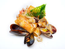 Mediterranean pancakes with seafood Stock Photos