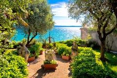 Mediterranean park on Lago di Garda view stock photography